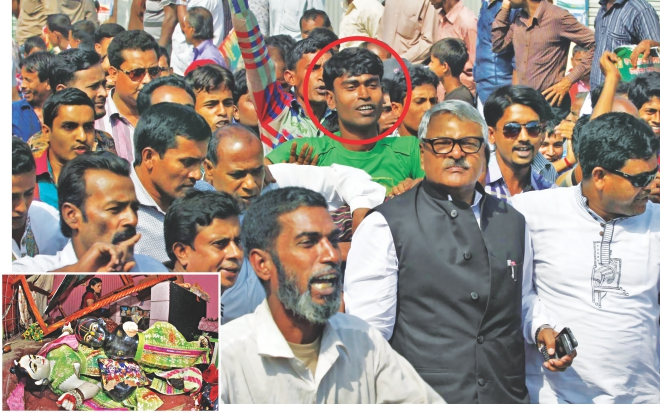 Mithu, one of the men alleged to have vandalised over 100 Hindu houses and temples, inset, at Bonogram in Santhia of Pabna on Saturday, is seen behind State Minister for Home Shamsul Hoque Tuku when he visited the area yesterday